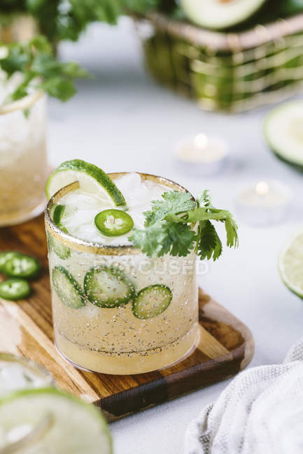 Margarita infusé coriandre épicée Jalapeno — Photo de stock