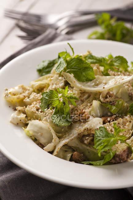 Салат з капусти з свіжою м'ятою — стокове фото