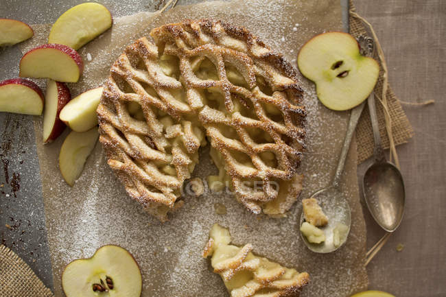 Apple lattice pie — Stock Photo