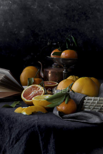 Still life with oranges — Stock Photo