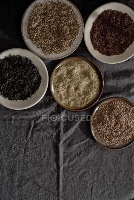 Разнообразие зерна различных пластин — стоковое фото