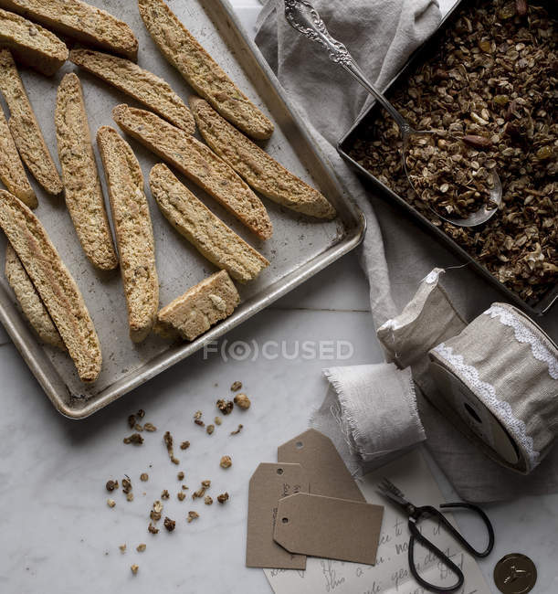 Homemade granola and biscotti — Stock Photo