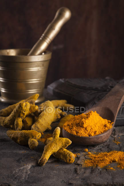 Indian spice in wooden spoon — Stock Photo