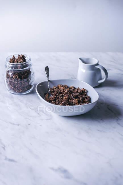 Homemade chocolate granola — Stock Photo