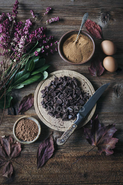 Ingredients of Chocolate cookies - foto de stock