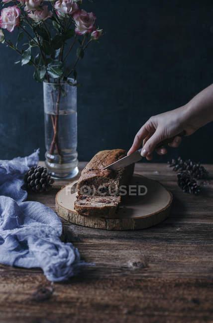 Pane di banana al cioccolato — Foto stock