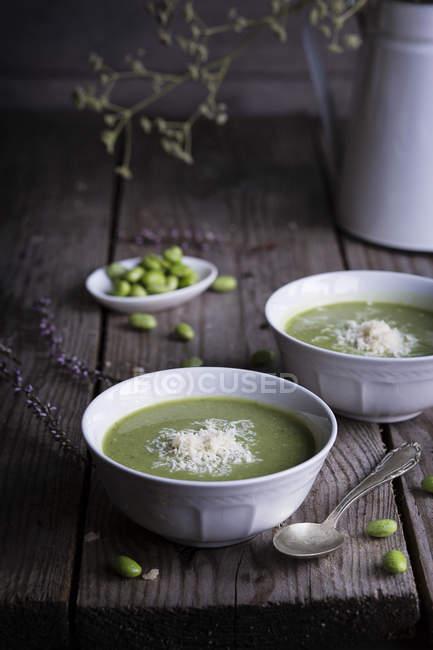 Erbsen und Bohnen Creme Suppe — Stockfoto
