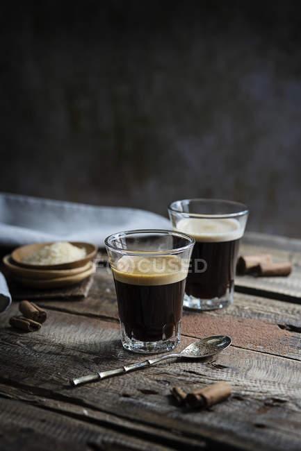 Glasses of hot espresso — Stock Photo