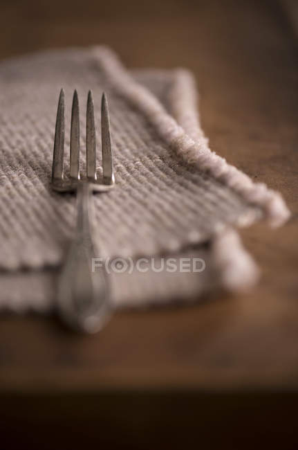 Simple place setting with antique fork — Stock Photo