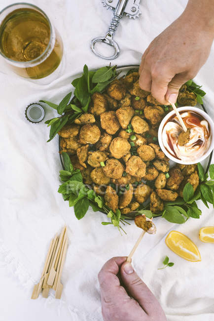 Fried Pickles with sauce — Stock Photo