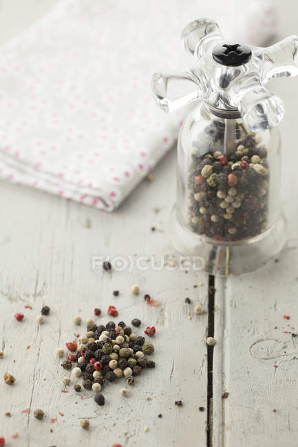 Mixed Peppercorns in Pepper Mill — Stock Photo