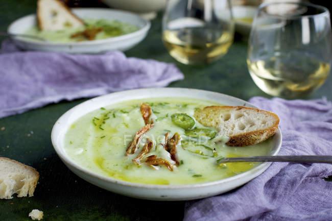 Cream of Potato Chive Soup — Fotografia de Stock