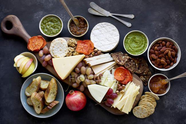 Varios quesos y galletas saladas - foto de stock