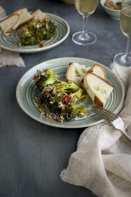 Chard Broccoli Head with Style Salsa Verde — Stock Photo