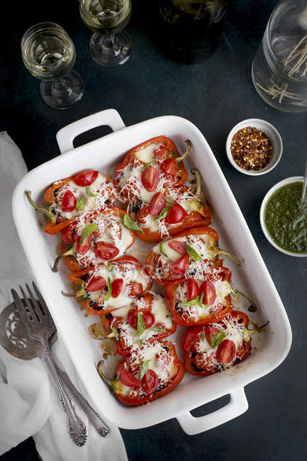 Stuffed Roasted Red Peppers — Stock Photo