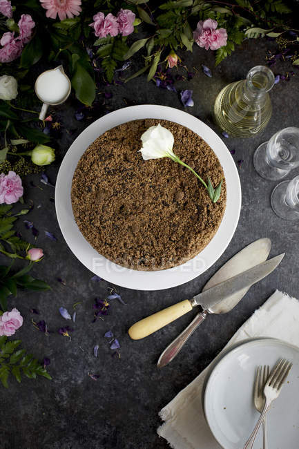 Schwarzer Sesam Crumb Cake — Stockfoto