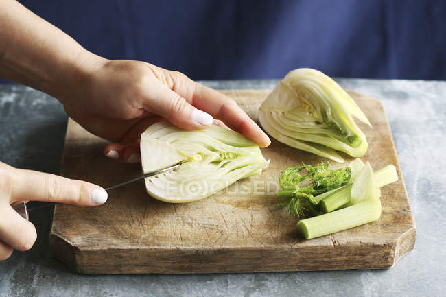 Female hands cutting fennel — Stock Photo
