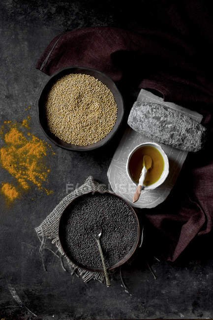 Ingredients for cooking mustard — Stock Photo