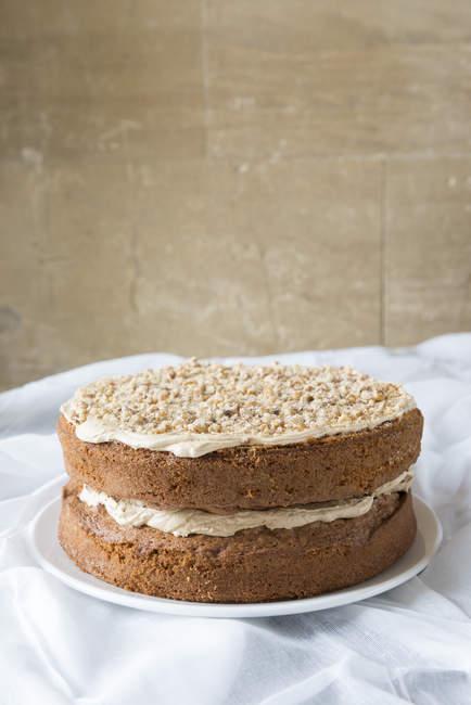 Gâteau café et noix — Photo de stock