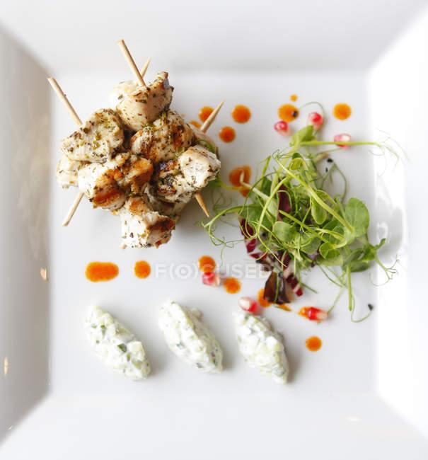 Souvlaki de poulet avec sauce tzatziki — Photo de stock