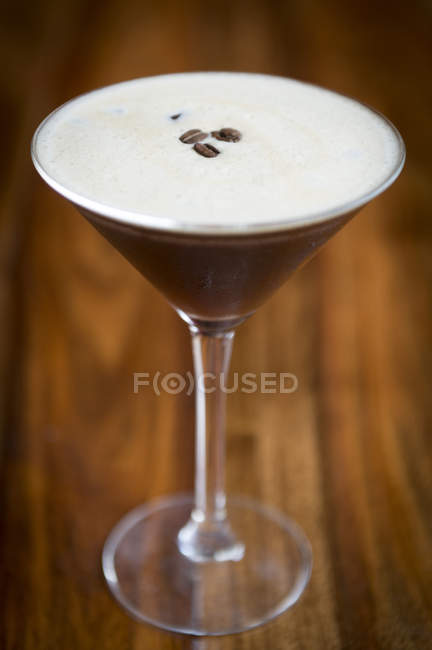 Coffee flavoured cocktail on bar — Stock Photo