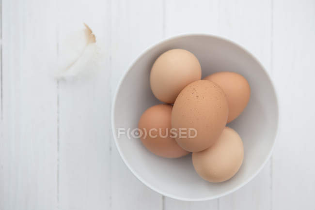 Brown eggs in white bowl — Stock Photo