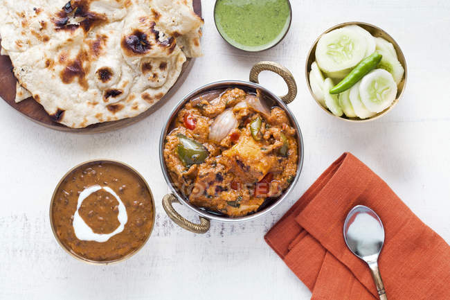Indian Lunch with paneer tikka masala — Stock Photo