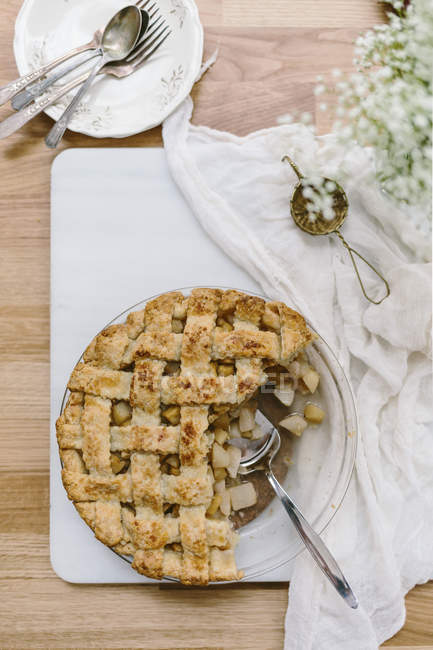 Half eaten apple pie — Stock Photo