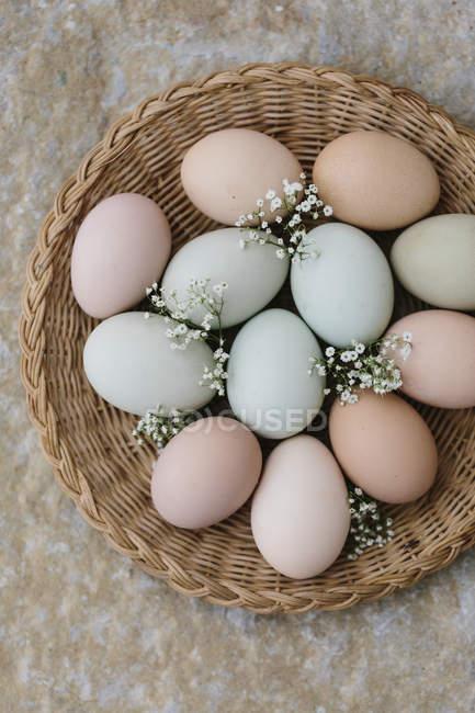Ovos de Páscoa coloridos da fazenda — Fotografia de Stock
