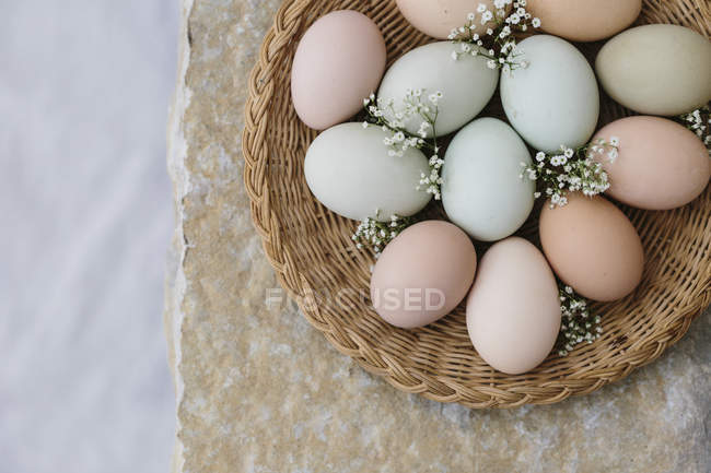 Colorful farm easter eggs — Stock Photo