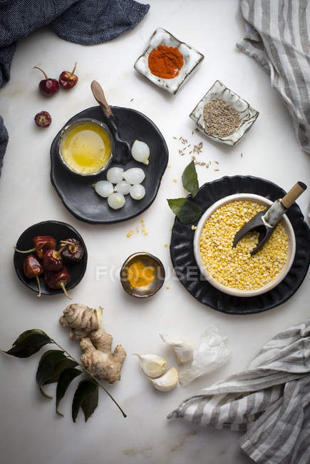 Ingredients  for Indian lentil soup — Stock Photo