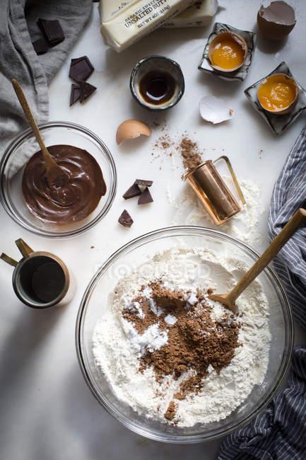 Brownie cookies ingredients — Stock Photo