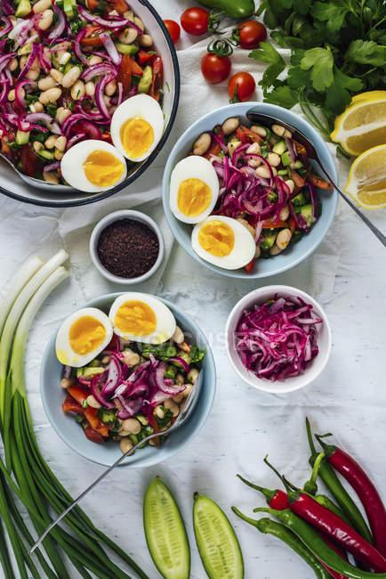 Turkish Bean Salad Piyaz — Stock Photo