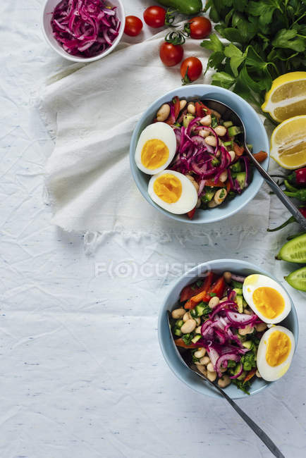 Turkish Bean Salad Piyaz — Stock Photo