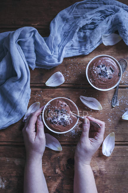 Chocolate coconut millet pudding — Stock Photo