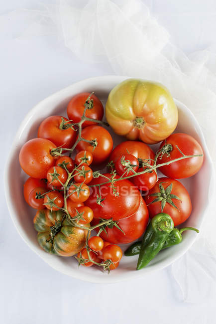 Tomatoes and green chilli — Stock Photo