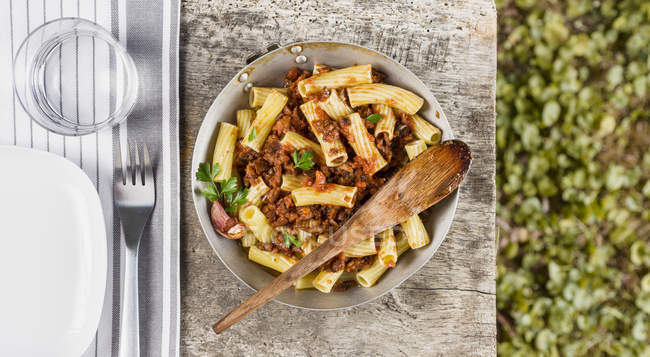 Pasta with eggplants and tomato sauce — Stock Photo