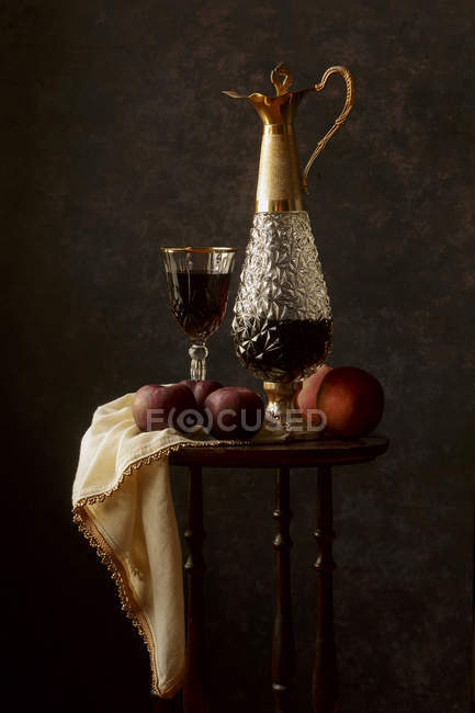 Red wine in carafe and glass — Stock Photo