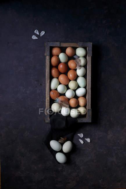 Varios huevos de colores - foto de stock
