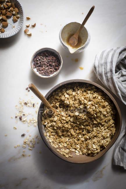 Preparation of granola mixture — Stock Photo