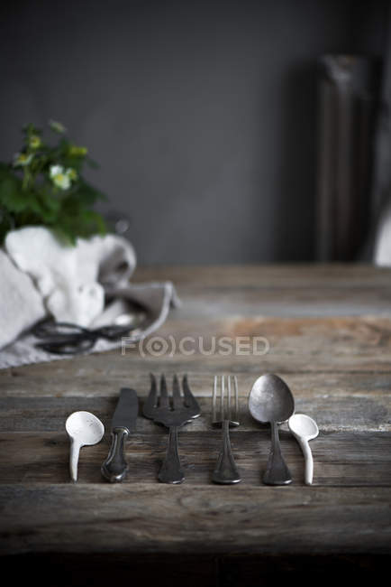 Cutlery in row on table — Stock Photo