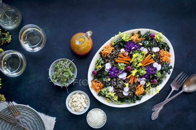 Grünkohl-Wildreis-Salat — Stockfoto