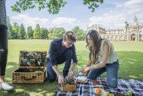 Picknick am Ufer Freunde — Stockfoto