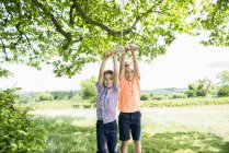 Chicos jugando en swing en el campo - foto de stock