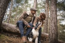 Pareja sentada en tronco con perro - foto de stock
