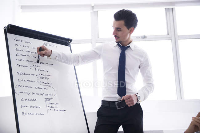 Businessman standing in front of flip chart — Stock Photo