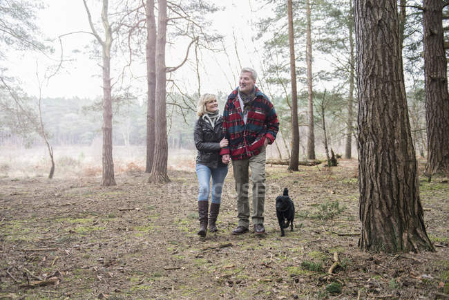 Senior couple enjoying walk with dog — Stock Photo