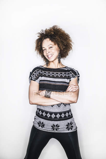 Mixed race woman smiling in camera — Stock Photo