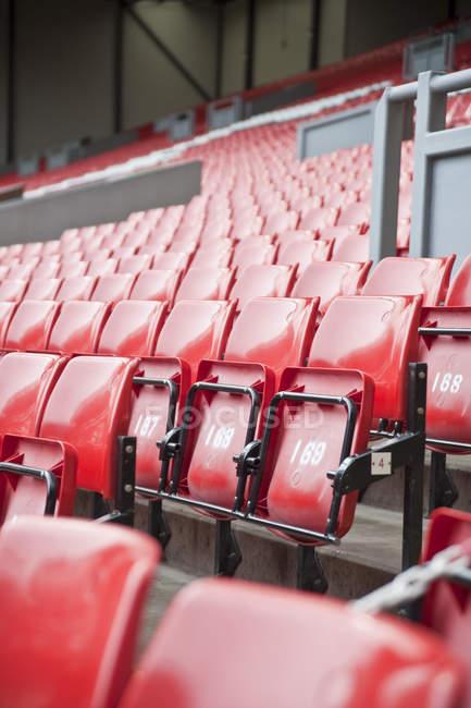 Filas de asientos coloreadas - foto de stock