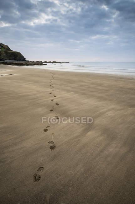 Следы на пустой пляж — стоковое фото